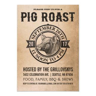 Invitations vintages de rôti de porc