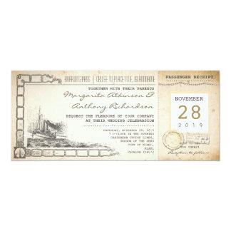 invitations vintages nautiques de mariage de carte