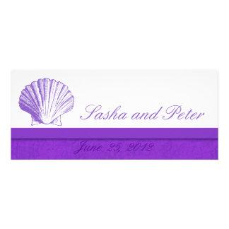 Invitations violettes de mariage de plage de Shell
