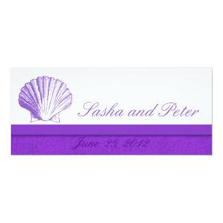 Invitations violettes de mariage de plage de Shell Carton D'invitation 10,16 Cm X 23,49 Cm