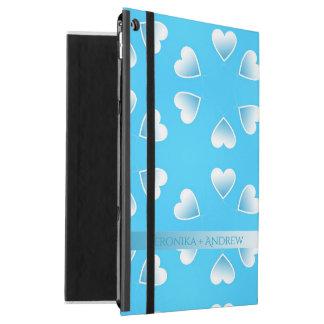 """iPad Pro 12.9"""" Case Coeurs bleus assez petits. Ajoutez votre propre"""
