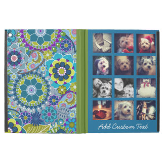 """iPad Pro 12.9"""" Case motif floral coloré de collage carré de la photo"""