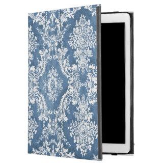 """iPad Pro 12.9"""" Case Motif vintage de damassé - blanc bleu de saphir"""