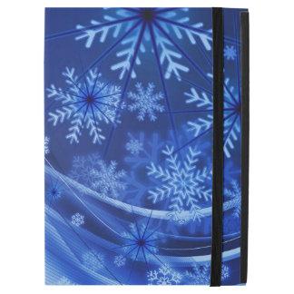 """iPad Pro 12.9"""" Case Noël bleu de flocons de neige d'hiver"""