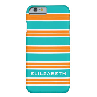 IPHONE6 CHIC CASE_TURRQUOISE/ORAN/WHITE BARRE #5 COQUE BARELY THERE iPhone 6