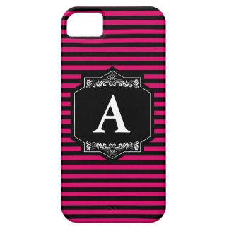 iPhone 5 Case Couche iPhone SI + iPhone 5 Bandes Pink Monogramme