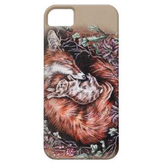 iPhone 5 Case Dessin de Fox rouge et d'art animal et de lis de