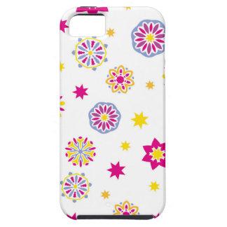 iPhone 5 Case Fleurs roses, jaunes et bleues abstraites colorées