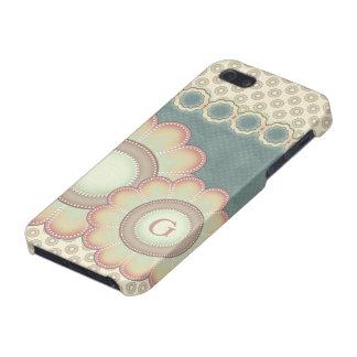 iPhone 5 Case L'art populaire en pastel fleurit le monogramme