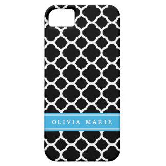 iPhone 5 Case Motif personnalisé de Quatrefoil de noir bleu