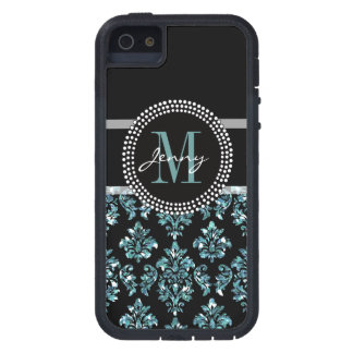 iPhone 5 Case Parties scintillantes bleues imprimées, damassé