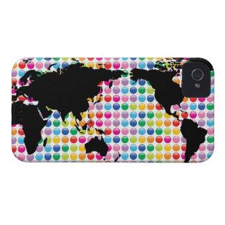 iPhone coloré 4 Casemate de carte du monde de poin