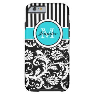 iPhone rayé blanc 6 de damassé de noir d'Aqua de m Coque Tough iPhone 6