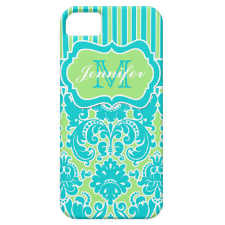 iPhone rayé bleu, vert, blanc 5 de damassé Étui iPhone 5