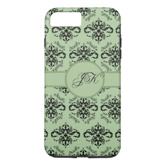 iPhone vert 7 de monogramme de damassé plus Coque iPhone 7 Plus