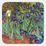 Iris de Van Gogh, art vintage de post impressionni Stickers Carrés
