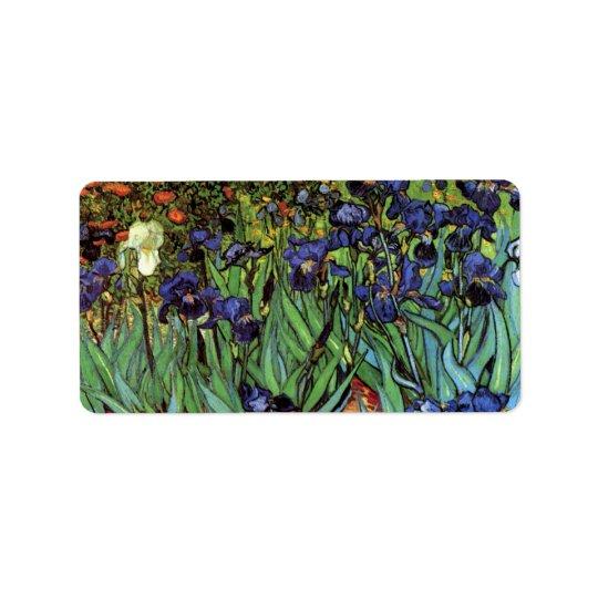 Iris de Van Gogh, beaux-arts vintages de jardin Étiquette D'adresse