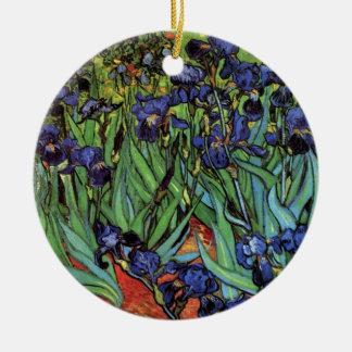 Iris de Van Gogh, beaux-arts vintages de jardin Ornement Rond En Céramique