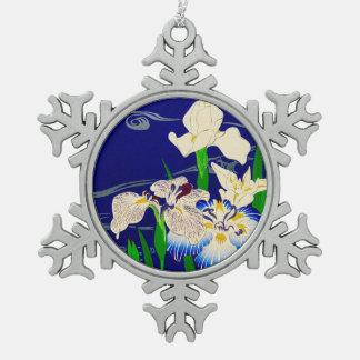 Iris japonais ornement flocon de neige pewter