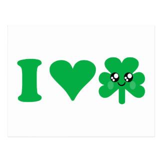 Irlandais chanceux d'amour de shamrock de coeur de carte postale