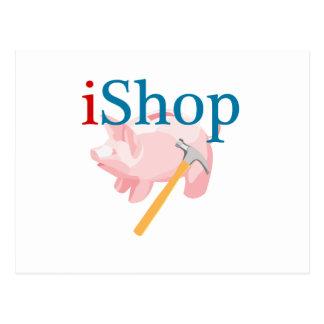 iShop drôle avec la tirelire et le marteau Carte Postale