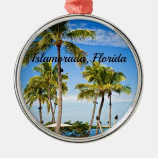 Islamorada, palmiers de la Floride Ornement Rond Argenté