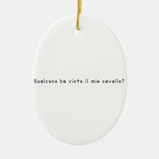 Italien-Cheval Ornement Ovale En Céramique