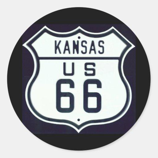 Itinéraire 66 le Kansas Adhésifs Ronds