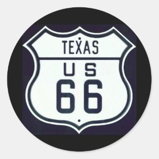 Itinéraire 66 le Texas Autocollant Rond