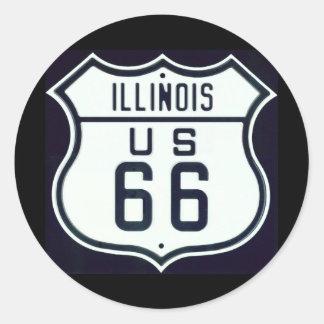 Itinéraire 66 l'Illinois Sticker Rond