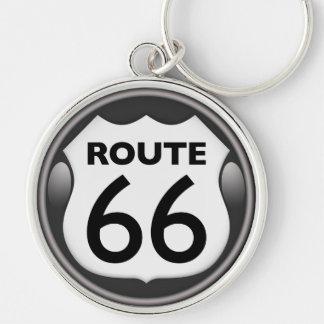 Itinéraire historique 66 des USA Porte-clé Rond Argenté