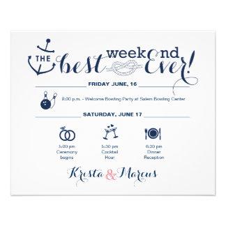 Itinéraire nautique 2 de week-end de mariage prospectus 11,4 cm x 14,2 cm