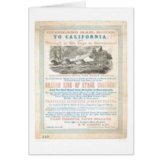 Itinéraire sur terre de courrier à CA 1866 (1257A) Carte De Vœux