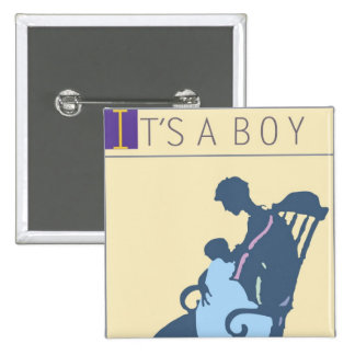 <It's a Boy> par Steve Collier Badge Carré 5 Cm