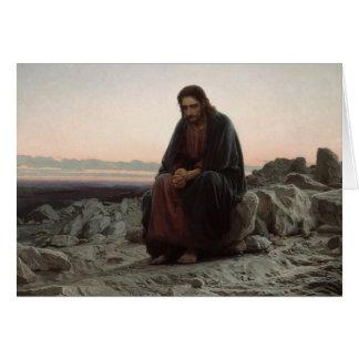 Ivan Kramskoy- le Christ dans la région sauvage Carte De Vœux