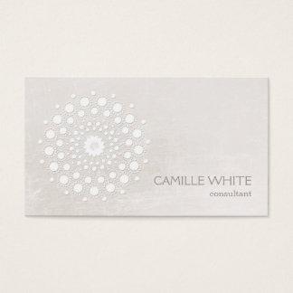 Ivoire blanc élégant chic de mandala de cercle cartes de visite