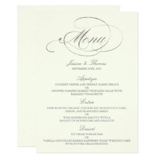 Ivoire chic de calibre de menu de mariage carton d'invitation  11,43 cm x 15,87 cm