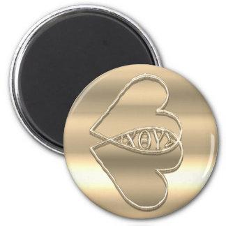 IXOYE en or Magnet Rond 8 Cm