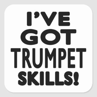 J ai des qualifications de trompette autocollant carré