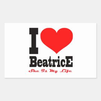 J aime Béatrice Elle est ma vie Stickers En Rectangle