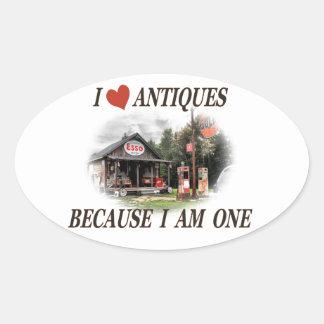 J aime des antiquités parce que j ai une ans autocollant ovale
