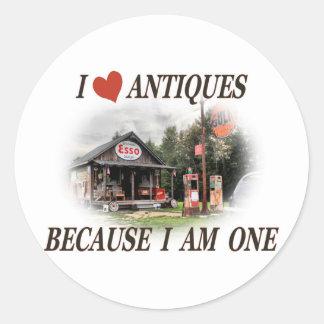 J aime des antiquités parce que j ai une ans autocollant rond