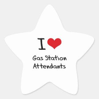 J aime des préposés de station service stickers en étoile
