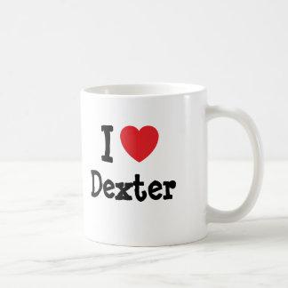 J aime la coutume de coeur de Dexter personnalisée Mugs