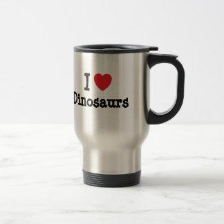 J aime la coutume de coeur de dinosaures personnal tasse