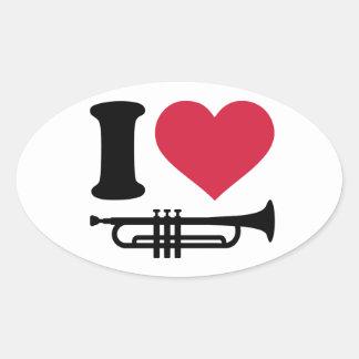 J aime la trompette autocollant ovale