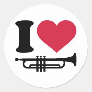 J aime la trompette autocollants ronds
