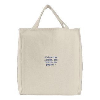 J aime les livres sacs fourre-tout brodés