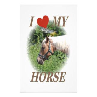J aime mon cheval papier à lettre personnalisé