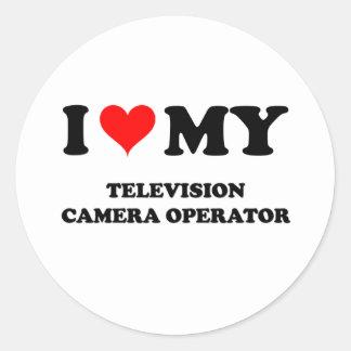 J aime mon opérateur de caméra de télévision adhésif rond